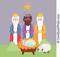 trois, dessin animé, rois, nativité, mignon, sage, jésus, mangeoire, bébé