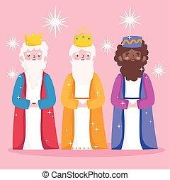 trois, dessin animé, rois, nativité, mignon, sage, mangeoire