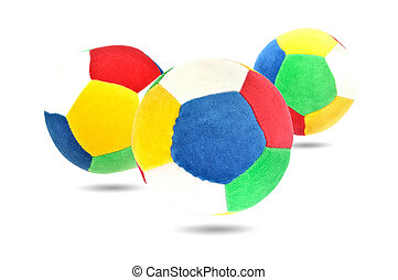 trois, gosse, boule colorée, jouet