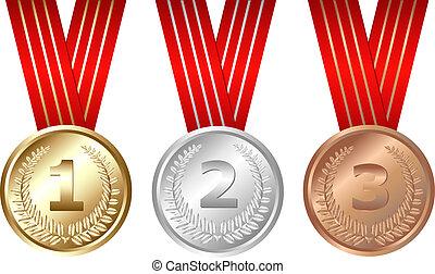 trois, médailles