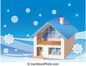 trois, maison, fond, dimensions, famille, hiver