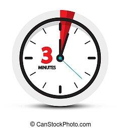 trois, minutes, horloge, minute, ith, icon., symbole., 3, figure