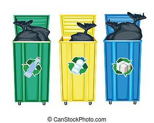 trois, poubelles