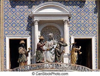 trois, procession, rue, venise, piazza, torre, dell`orologio, san marco, horloge, italie, magi, tour, ange, mark`s