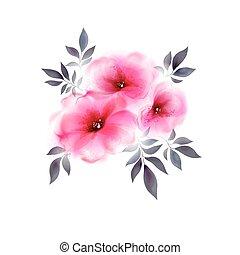 trois, rose, tendre, fleurs