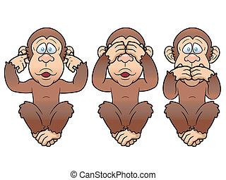 trois, singes