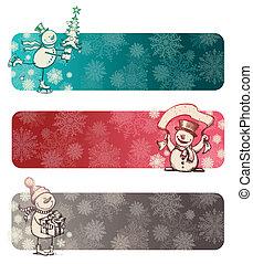 trois, snowmans, main, vecteur, chrismas, dessiné, bannières