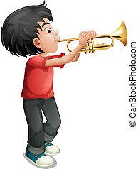 trombone, garçon, sien, jouer