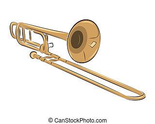 trombone, instrument, musical, illustration
