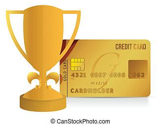 trophée, carte de débit, illustration, tasse