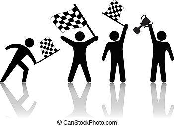 trophée, checkered, gens, symbole, vague, drapeau, victoire, prise