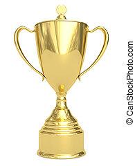 trophée, doré, tasse blanche