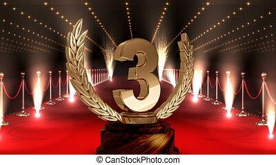 trophée, endroit, vidéo, troisième, moquette, rouges