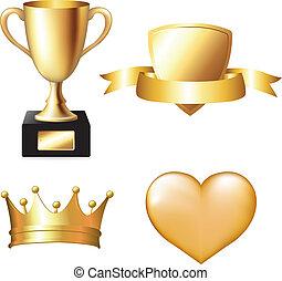 trophée, ensemble, or