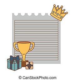 trophée, feuille, cadeau, couronne, boîtes, papier