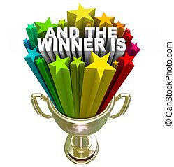 trophée, or, gagnant, récompense