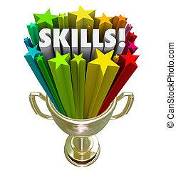 trophée, or, techniques, expérience, skillset, demande, mieux