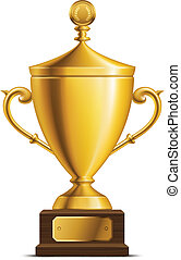 trophée, tasse, doré