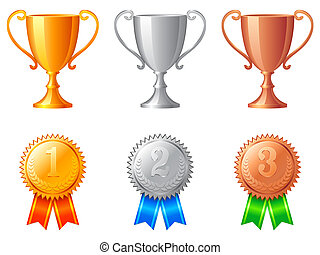 trophée, tasses, medals.
