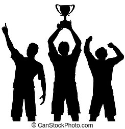 trophée, vainqueurs, victoire, célébrer, sports