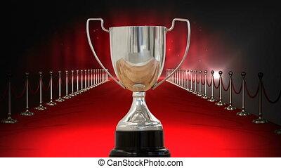trophée, vidéo, argent, moquette, rouges