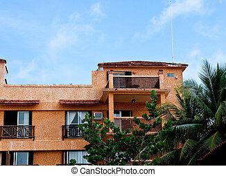 tropiques, hôtel, stuc