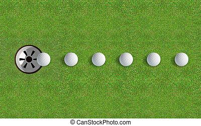 trou, balle, golf, approchant