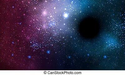 trou, noir, espace