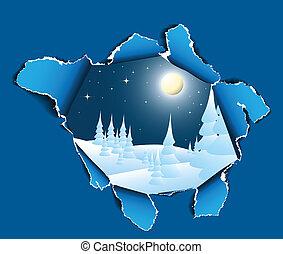 trou, paysage hiver, neigeux