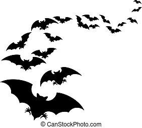 troupeau, flying), chauves-souris, (set