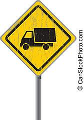 truck., vieux, panneaux signalisations
