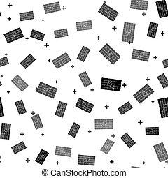 truelle, blanc, vecteur, noir, illustration, seamless, mur brique, arrière-plan., modèle, isolé, icône