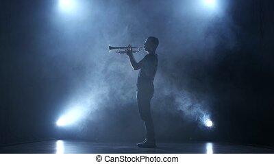 trumpeter, enfumé, projecteur, studio, mélodie, jouer, homme