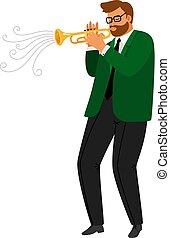 trumpeter, jazz, vecteur, bleus, performance, musical, homme