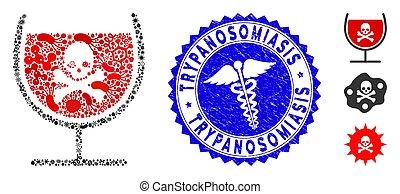 trypanosomiasis, healthcare, gratté, contagion, boisson, poison, mosaïque, cachet, verre, icône