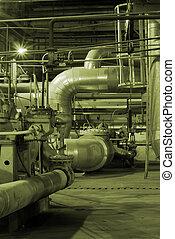 tubes, cheminée, puissance, canaux transmission, plante