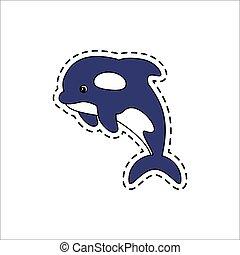 tueur, vecteur, whale., illustration.