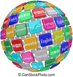 tuiles, apprentissage, langue, globe, étranger, transl, mots, international