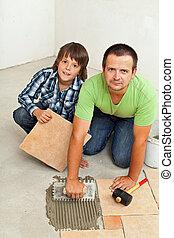 tuiles, plancher, monture, céramique, père, ensemble, fils