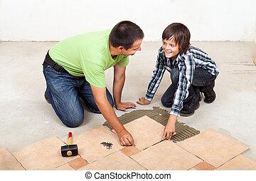 tuiles, plancher, père, céramique, pose, fils
