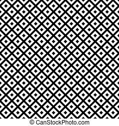 tuiles, reprise, modèle, diagonal, arrière-plan noir, blanc, carrés