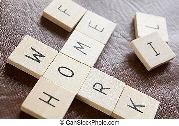 tuiles, travail, mots croisés, bois, moderne, vie, pressions, forme, mots, maison, orthographe, illustrer