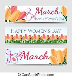 tulipes, bannières, femme, jour, heureux