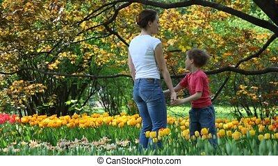 tulipes, fils, parc, automnal, mère