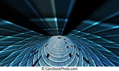tunnel bleu, carrés