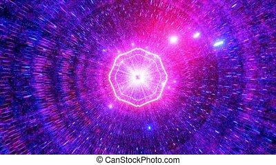 tunnel, boucle, particules, vj, 3d, incandescent, illustration, frais, néon, espace