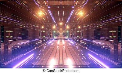 tunnel, boucle, vidéo, 3d, bleu, illustration, doré, néon, fond, espace