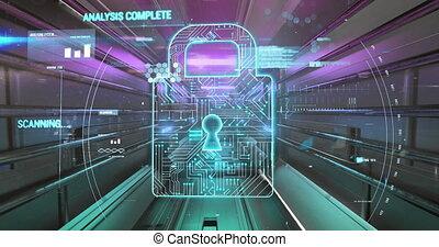 tunnel, cadenas, incandescent, sécurité, icône, données, contre, traitement