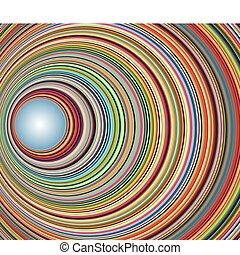 tunnel, cercles, résumé, coloré