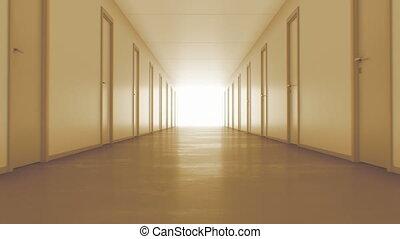 tunnel., fin, fermé, lumière, animation., light., seamless, ultra, chaud, portes, 4k, couloir, 3840x2160, en mouvement, interminable, hd, 3d